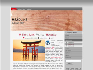 HTML, Drupal, Joomla, and Wordpress CoralSandStripes Templates - Wordpress screenshot
