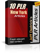 Cover graphic for Jeff Dedrick's 10 Private Label Rights (PLR) Niche Article Packages