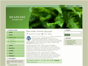 HTML, Drupal, Joomla, and Wordpress Leaves Templates - Wordpress screenshot