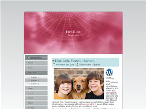 HTML, Drupal, Joomla, and Wordpress MauveTieDye Templates - Wordpress screenshot