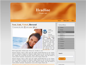 HTML, Drupal, Joomla, and Wordpress OrangeSwirl Templates - Wordpress screenshot