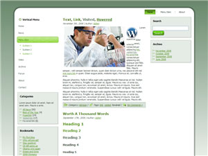 HTML, Drupal, Joomla, and Wordpress Wintergreen Templates - Wordpress screenshot