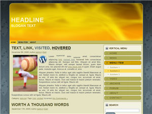HTML, Drupal, Joomla, and Wordpress YellowAurora Templates - Wordpress screenshot